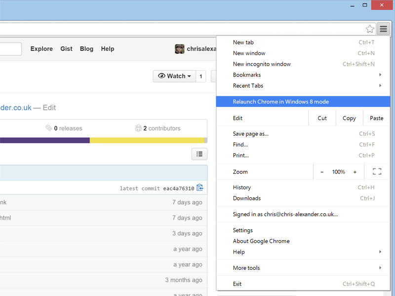 Chrome relaunch in Windows 8 mode