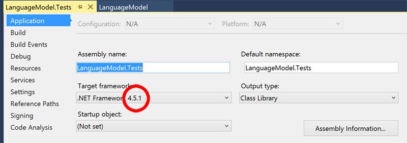 Choose the .NET target platform